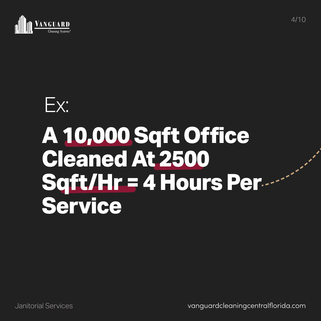 Example: a 10,000 square foot office cleaned at 2500 square feet per hour is 4 hours of cleaning service