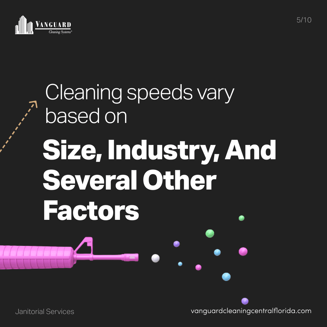 Office cleaning speeds vary based on size, industry, and several other factors