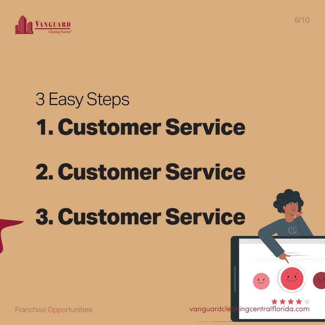 3 easy steps: customer service, customer service, customer service