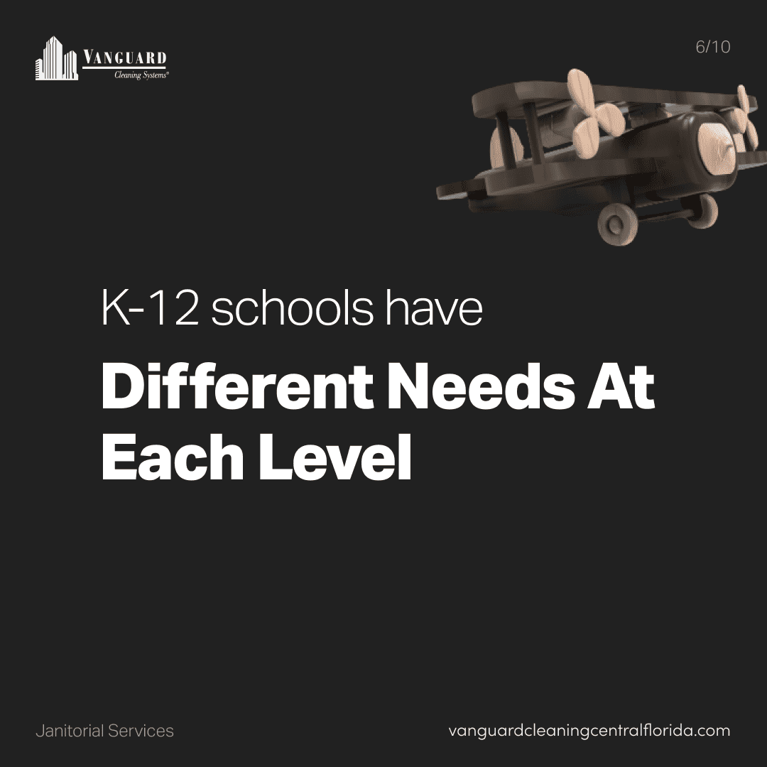 K through 12 schools have different cleaning needs at each level